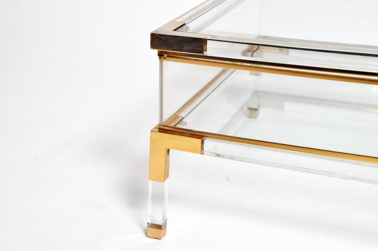 Vintage Sliding Glass Top Coffee Table Attributed to Maison Jansen For Sale 6