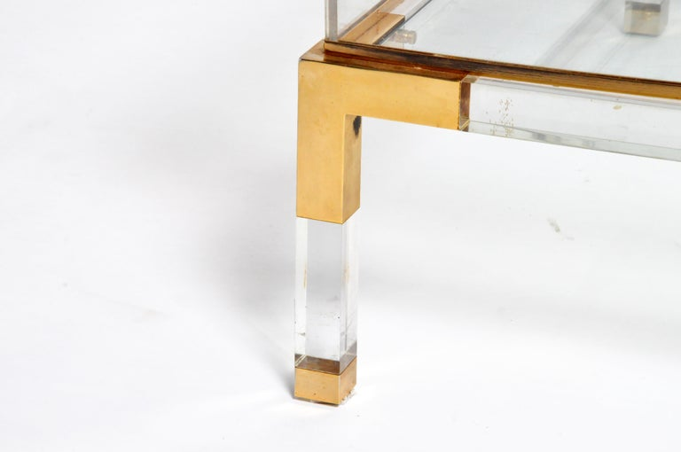 Vintage Sliding Glass Top Coffee Table Attributed to Maison Jansen For Sale 7