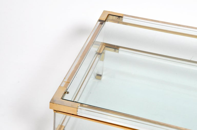 Vintage Sliding Glass Top Coffee Table Attributed to Maison Jansen For Sale 8