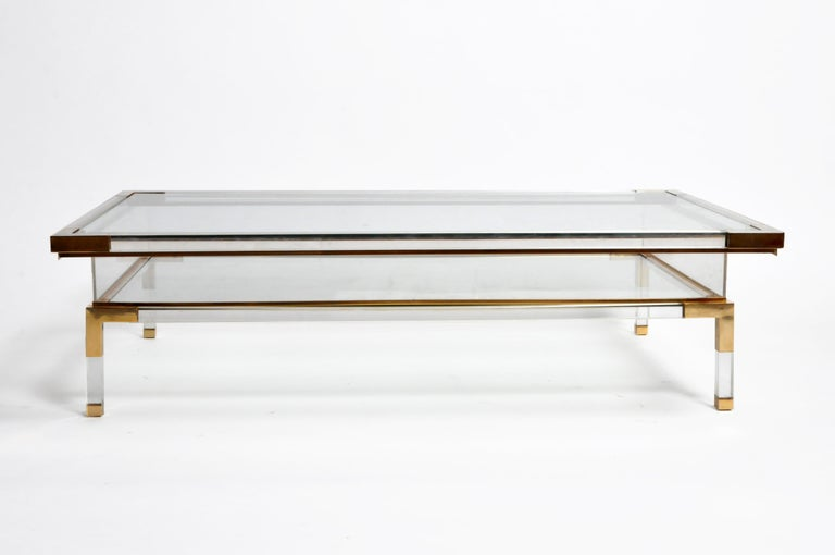 Vintage Sliding Glass Top Coffee Table Attributed to Maison Jansen For Sale 10