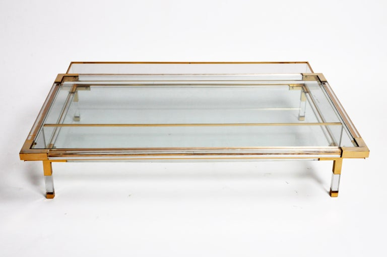 Vintage Sliding Glass Top Coffee Table Attributed to Maison Jansen For Sale 11