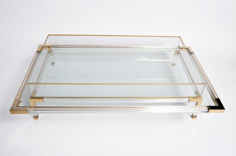 Vintage Sliding Glass Top Coffee Table Attributed to Maison Jansen For Sale 12
