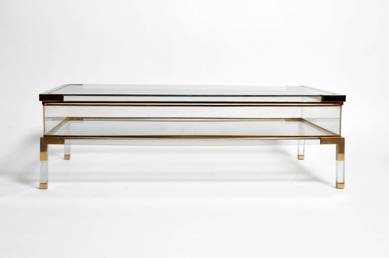 French Vintage Sliding Glass Top Coffee Table Attributed to Maison Jansen For Sale