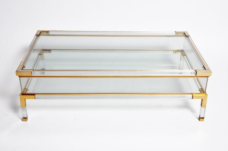 Vintage Sliding Glass Top Coffee Table Attributed to Maison Jansen In Good Condition For Sale In Chicago, IL