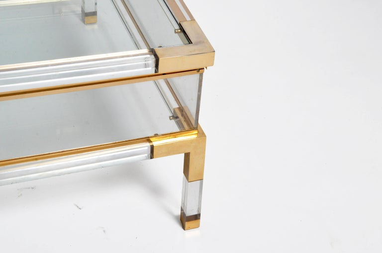 Chrome Vintage Sliding Glass Top Coffee Table Attributed to Maison Jansen For Sale