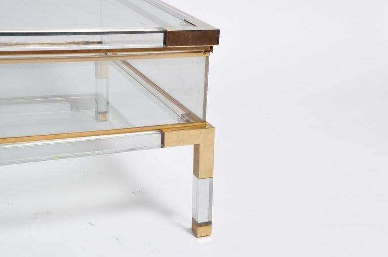 Vintage Sliding Glass Top Coffee Table Attributed to Maison Jansen For Sale 1