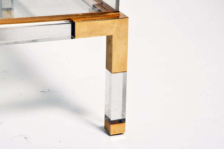 Vintage Sliding Glass Top Coffee Table Attributed to Maison Jansen For Sale 3