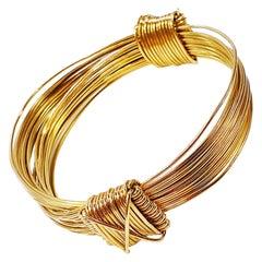 "Vintage Sliding Knot ""Royal Jungle Safari"" 18 Karat Gold Bracelet Two Knots"