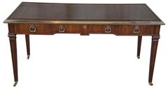 Vintage Sligh Neoclassical Revival Mahogany & Brass Tooled Leather Writing Desk
