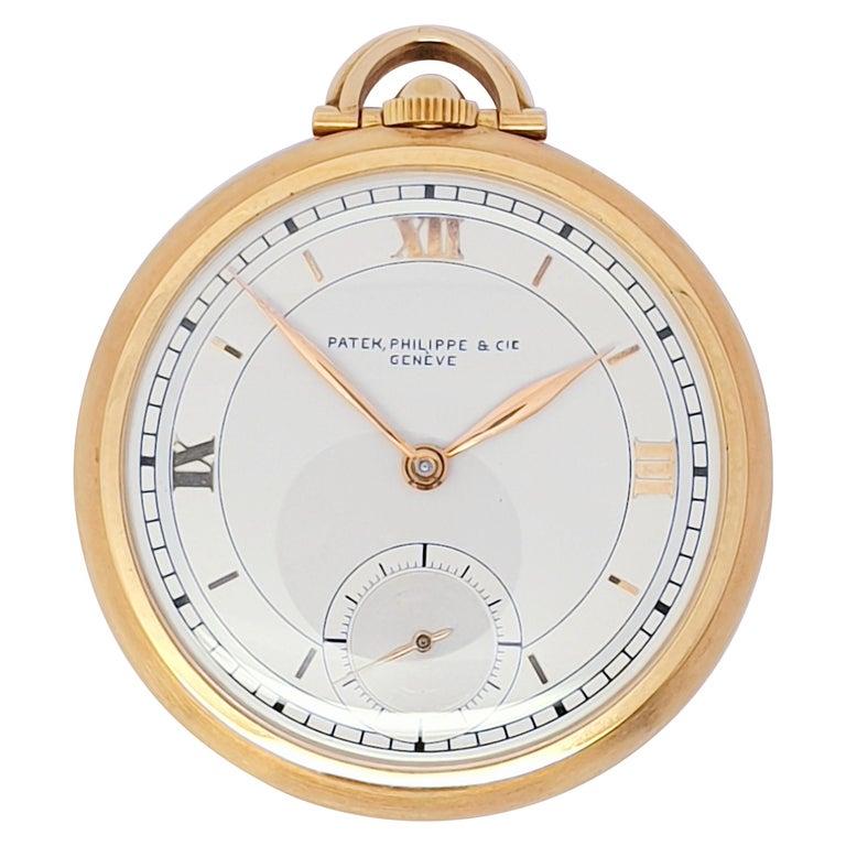 Vintage Slimline Patek Philippe Pocket Watch 18 Karat Gold For Sale