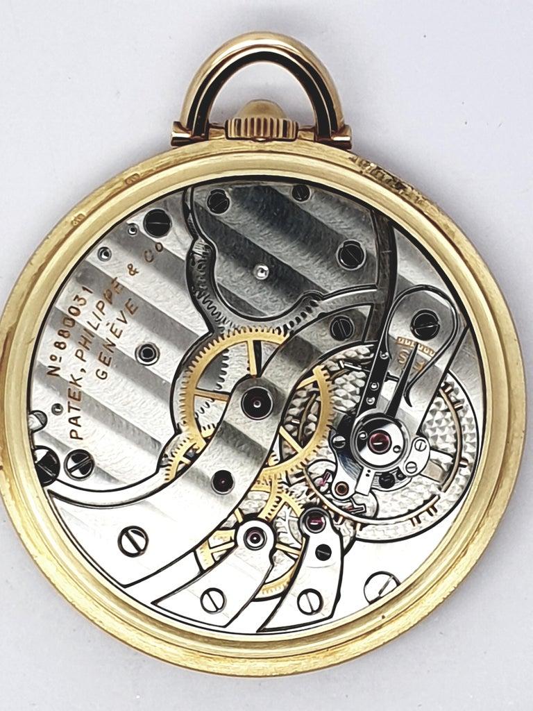 Vintage Slimline Patek Philippe Pocket Watch 18 Karat Gold For Sale 2