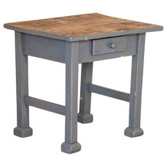 Vintage Small Blue Painted Side Table Nightstand