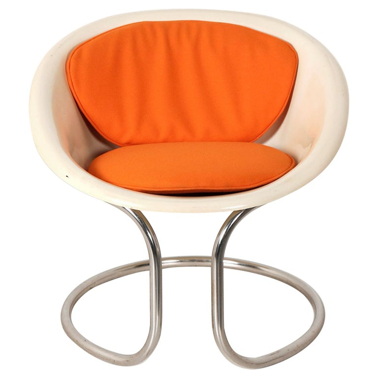 Vintage Small Fiberglass Armchair, Italy, 1970s For Sale