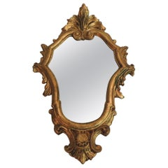 Vintage Small Florentine Gold Leaf Ornate Mirror