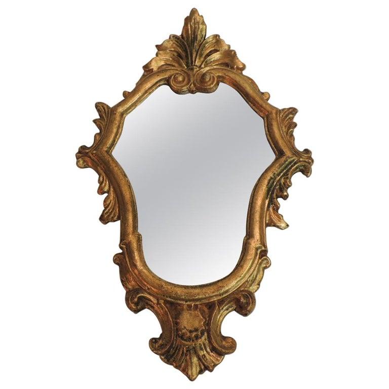 Vintage Small Florentine Gold Leaf Ornate Mirror At 1stdibs