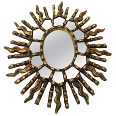 Vintage Small Gold Leaf on Wood Oval Sunburst Peruvian Mirror