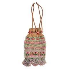 Vintage Small Leather and Beaded Indigenous Styled Pouch or Draw String Bag
