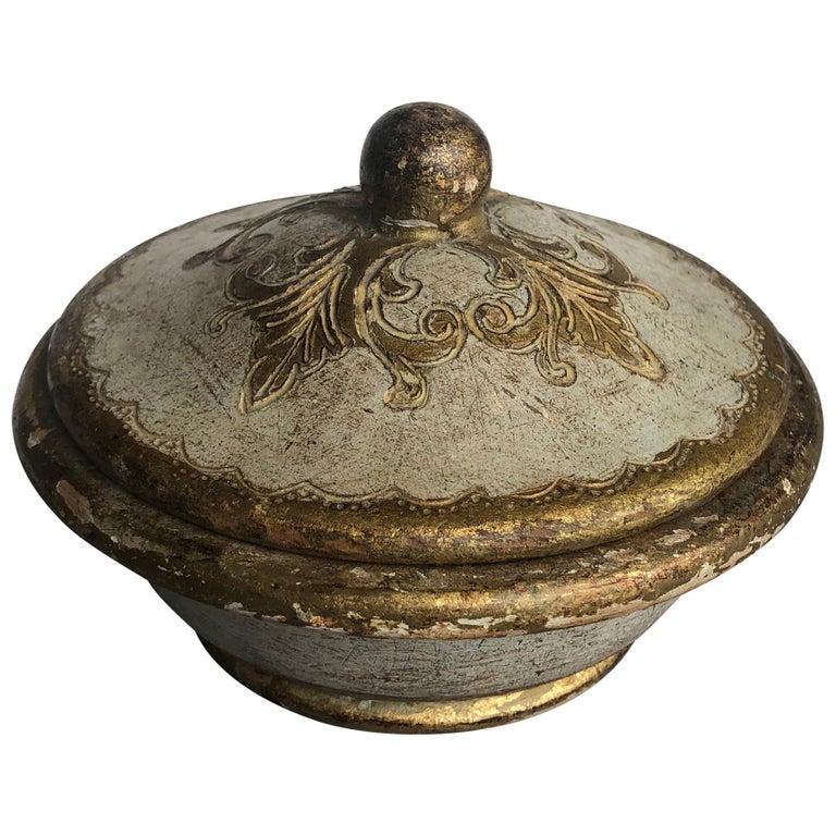 Green flower gold leaf round lidded trinket box