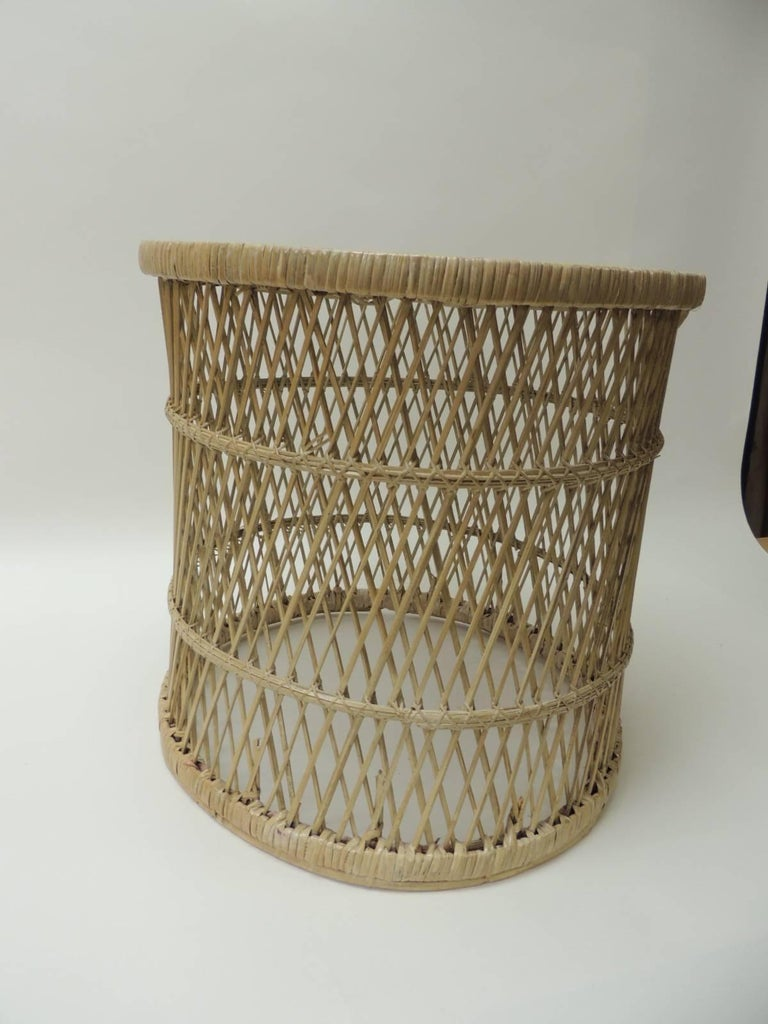 Bohemian Vintage Small Round Rattan Side Table For Sale