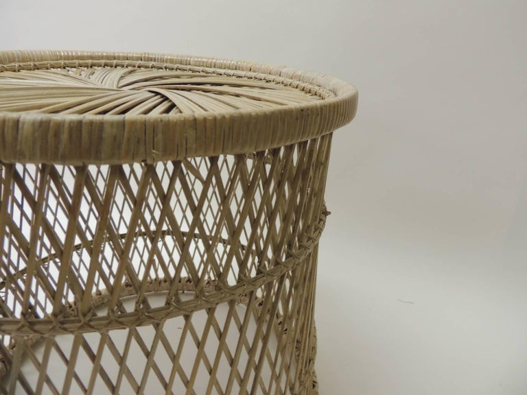 Balinese Vintage Small Round Rattan Side Table For Sale