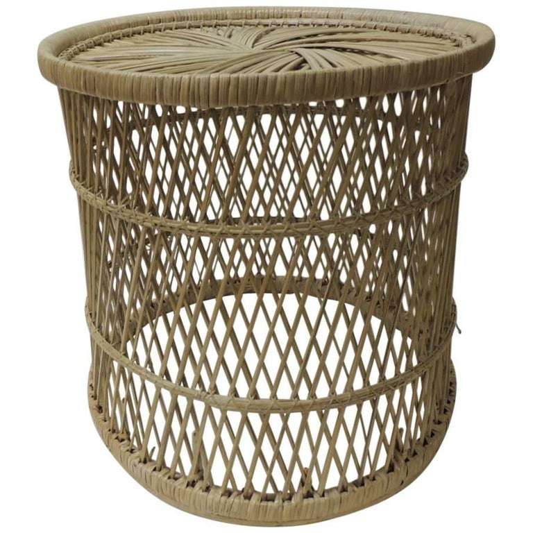 Vintage Small Round Rattan Side Table For Sale