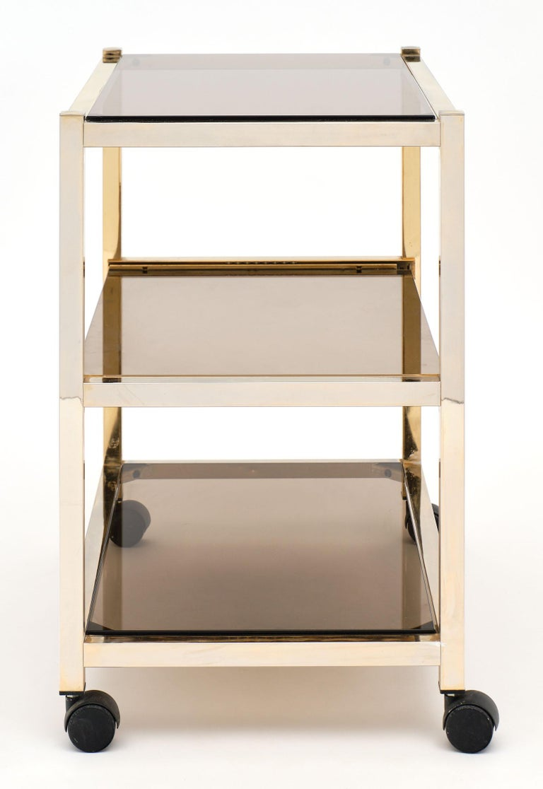 Vintage Smoked Glass Side Table For Sale 3