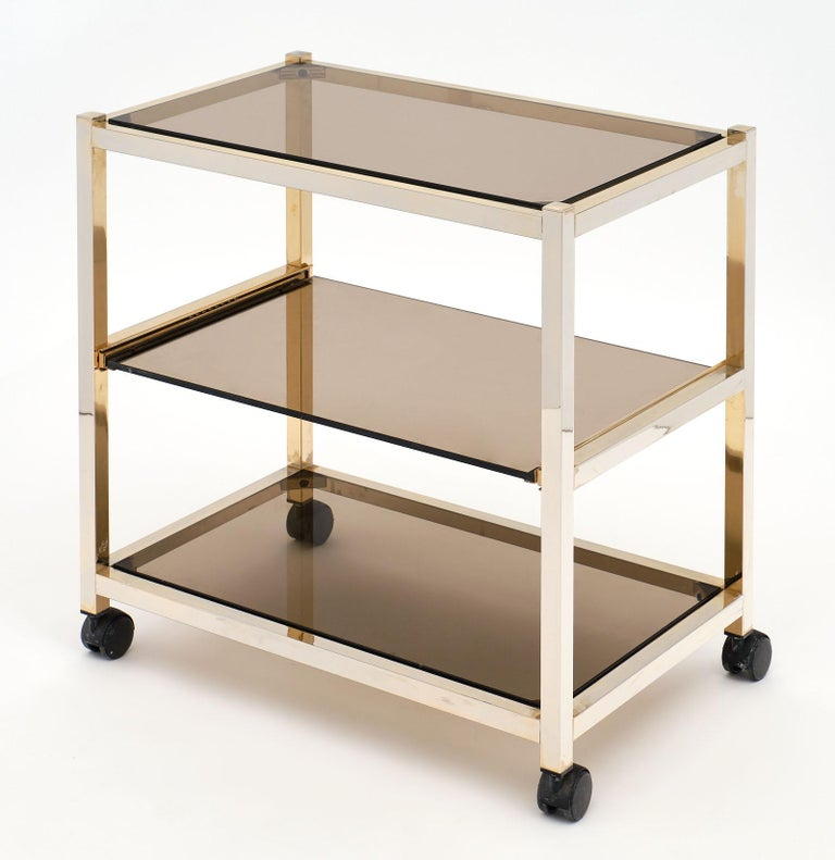 Vintage Smoked Glass Side Table For Sale 4