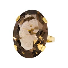 Vintage Smokey Quartz and 9 Carat Gold Cocktail Ring