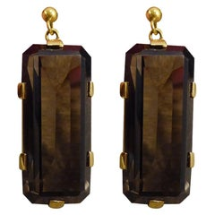 Vintage Smokey Quartz Drop Earrings in 9 Carat Yellow Gold