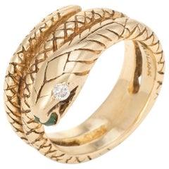 Vintage Snake Ring 14 Karat Yellow Gold Diamond Eyes Alternative Wedding Band