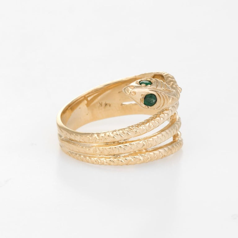 Modern Vintage Snake Ring 14 Karat Yellow Gold Emerald Eyes Alternative Wedding Band For Sale