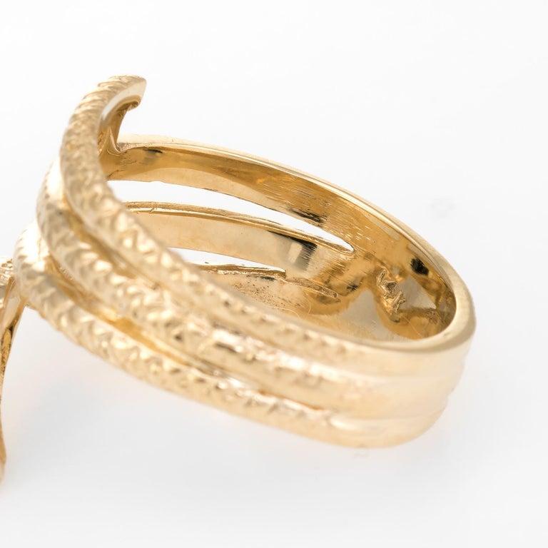 Vintage Snake Ring 14 Karat Yellow Gold Emerald Eyes Alternative Wedding Band For Sale 1
