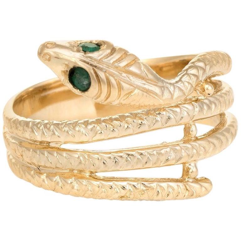 Vintage Snake Ring 14 Karat Yellow Gold Emerald Eyes Alternative Wedding Band For Sale