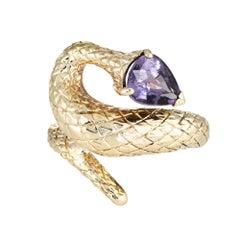 Vintage Snake Ring Purple Spinel 14 Karat Yellow Gold Pear Cut Estate