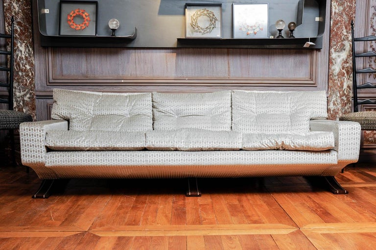 Three places vintage sofa, restored and upholstered with Gucci fabric. Feet made of wood and steel.