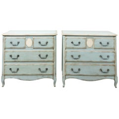 Vintage Soft Blue Painted French Commodes