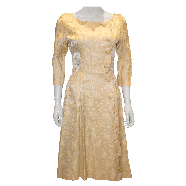 Vintage Soft Gold Brocade Cocktail Dress