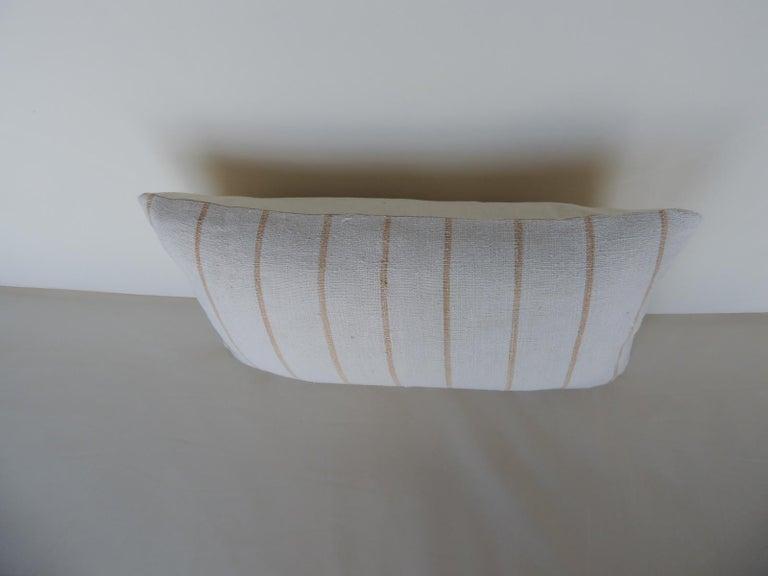Country Vintage Soft Yellow Stripes Grain Sack Linen Decorative Lumbar Pillow For Sale