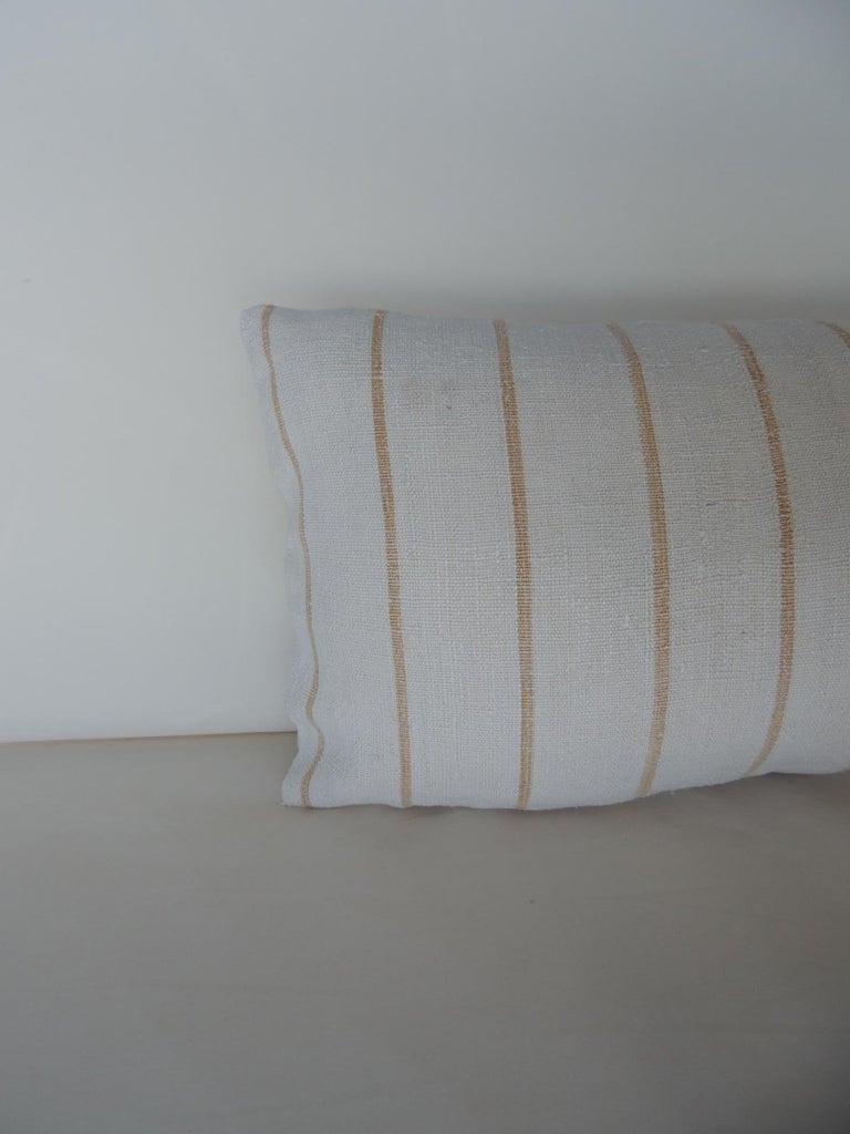 French Vintage Soft Yellow Stripes Grain Sack Linen Decorative Lumbar Pillow For Sale
