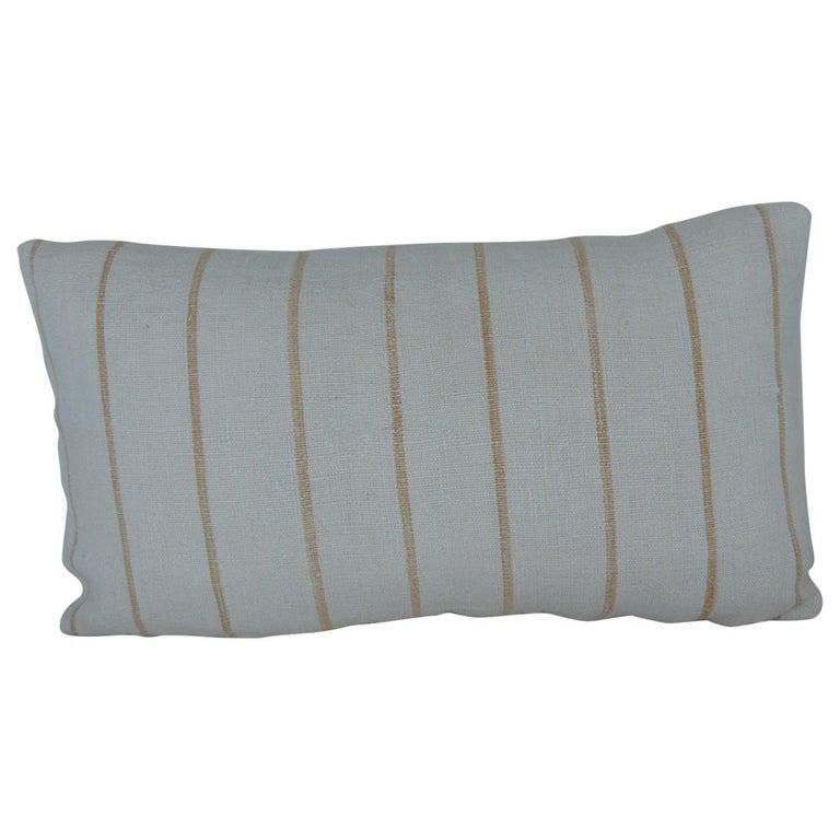 Vintage Soft Yellow Stripes Grain Sack Linen Decorative Lumbar Pillow For Sale