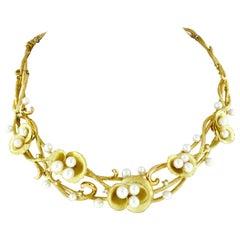 Vintage Solid 18k Gold Pearl Textured Flower & Diamond Statement Necklace