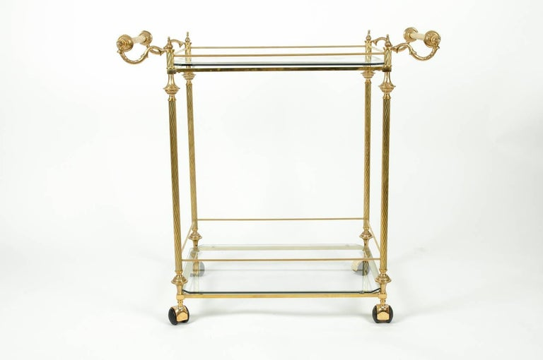 Vintage Solid Brass Glass Shelves Two Tiers Bar Cart For
