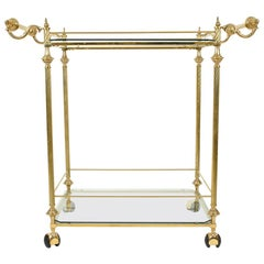 Vintage Solid Brass/Glass Shelves Two-Tiers Bar Cart