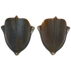 Vintage Solid Brass Medieval Shield Wall Sconces, 1930s