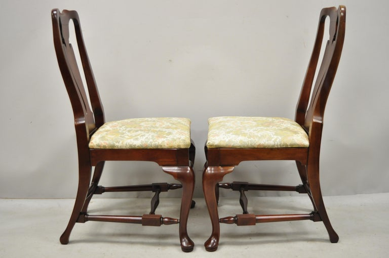 Vintage Solid Cherrywood Queen Anne Style Stretcher Base Dining Side Chairs For Sale 5