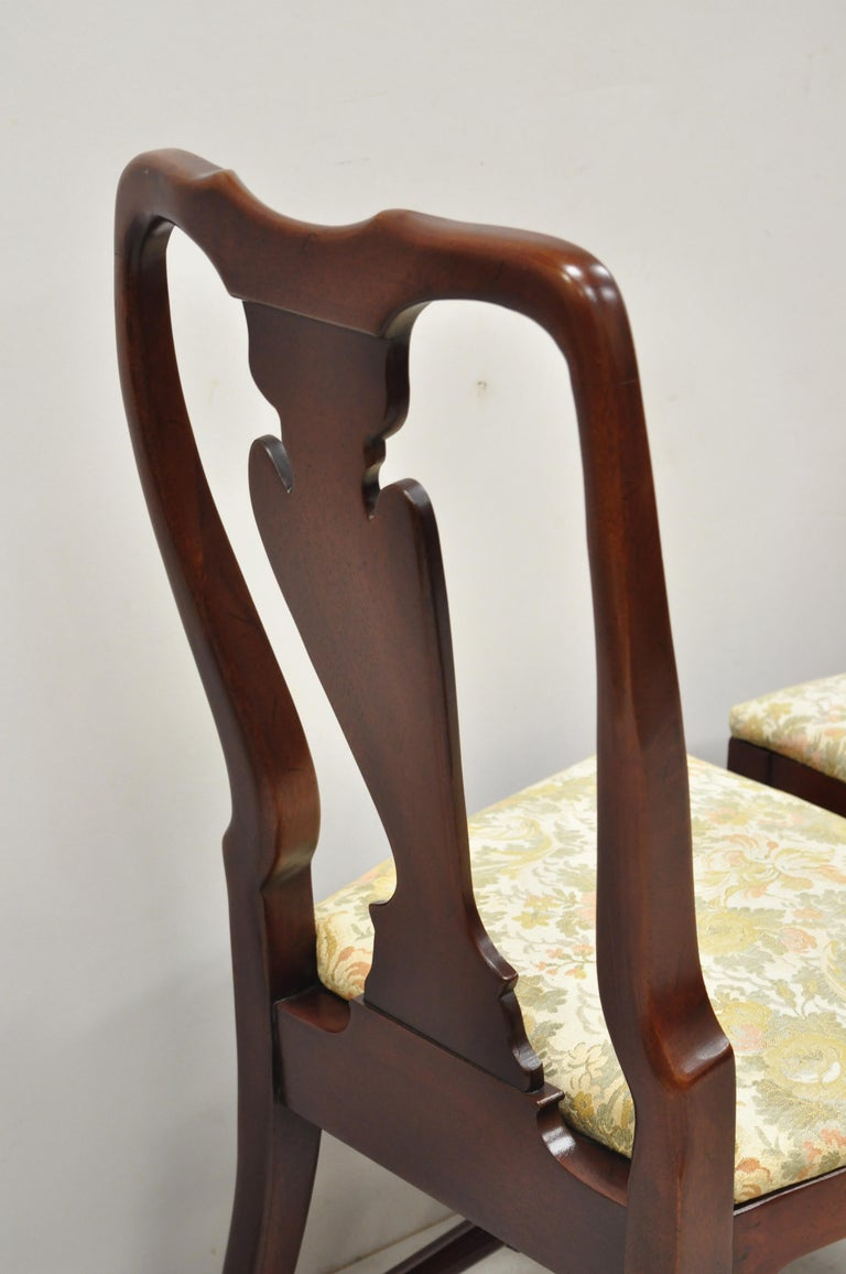 Vintage Solid Cherrywood Queen Anne Style Stretcher Base Dining Side Chairs For Sale 6