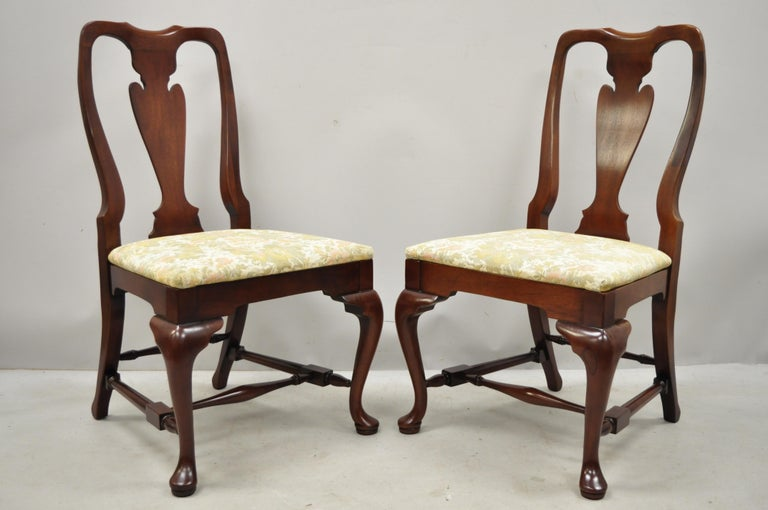 Vintage Solid Cherrywood Queen Anne Style Stretcher Base Dining Side Chairs For Sale 7