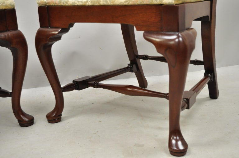 Vintage Solid Cherrywood Queen Anne Style Stretcher Base Dining Side Chairs For Sale 1