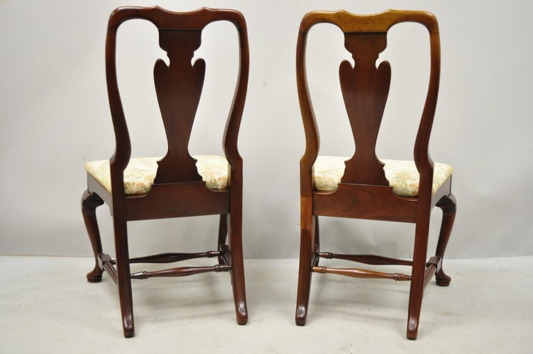 Vintage Solid Cherrywood Queen Anne Style Stretcher Base Dining Side Chairs For Sale 2