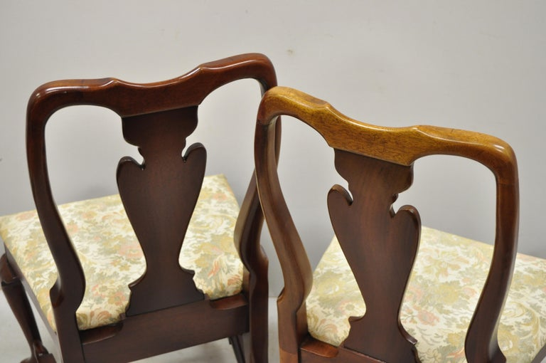 Vintage Solid Cherrywood Queen Anne Style Stretcher Base Dining Side Chairs For Sale 3